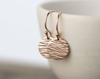 Textured Rose Gold Earrings, Mother's Day Gifts for Mom, Gift for Her, Gift for Women, Gift for Mom, Rose Gold Jewelry Handmade Burnish