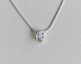 1.6 carat white topaz pendant, Sterling silver, bezel setting slider pendant necklace, November birthstone