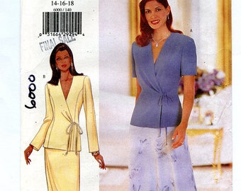 Butterick 6000 Women's V-Neck Tie Front Blouse and Skirt UNCUT Sewing Pattern Sizes 14 16 18 Bust 36 38 40 Spring Summer