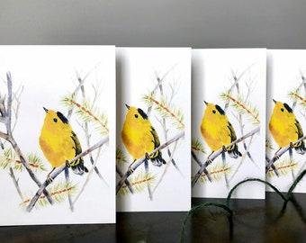 Bird Card Set of 4, Goldfinch Cards, Watercolor, Bird Lovers Card.
