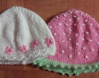 Cute Baby Hat Set - Flowered (3-6 Months) & Strawberry (6-9 Months) designs