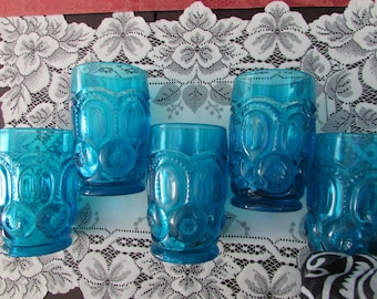 "VINTAGE - Aqua Mid-Century ""Moon and Stars"" glasses set of (5)"