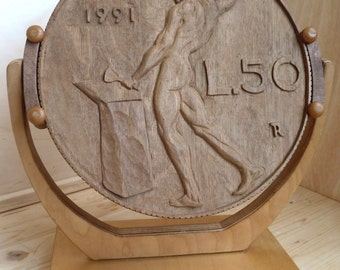 Bas-relief Fifty lire coin