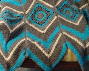 Afghan - Granny With Radiant Stripes  46 wide x 62 long  ** Ready to Ship**