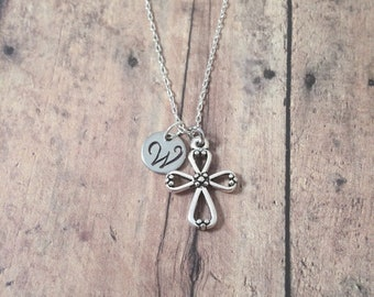 Cross initial necklace - cross jewelry, Christian jewelry, religious jewelry, confirmation jewelry, communion gift, silver cross pendant