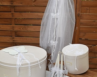 Luxury Greek Orthodox Baptism- Christening Boxes-Organza Butterflies-Baptismal Oil/Spa Box-Christening Big Candle-3 Small Candles Decorated
