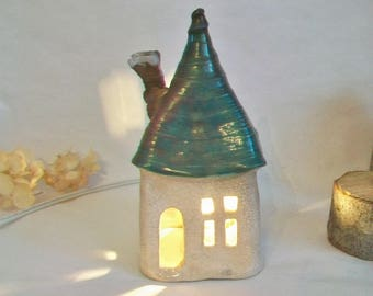 Fairy House/ Night Light - Raku Fired - Squared Up  -- 1 House - Ready to Ship