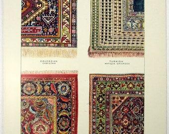 Oriental Rugs - Original 1902 Dated Stone Chromo-Lithograph by Julius Bien
