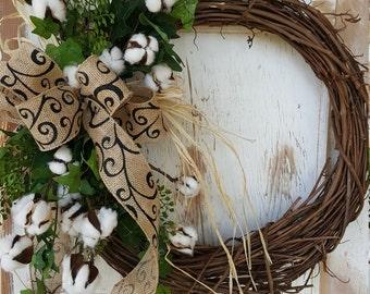 Front Door Wreath, cotton boll, summer wreath, cotton boll Wreath, Door Wreath, farmhouse Wreath, rustic wreath, farmhouse wedding