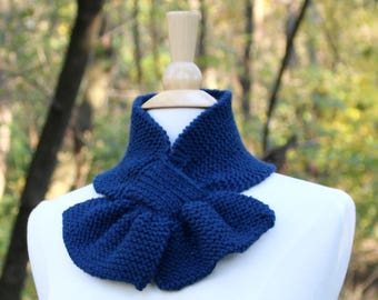 Midnight blue scarf, dark blue knit scarf, knit ascot scarf, unique scarf, pull through scarf, small scarf, keyhole scarf, gift for her