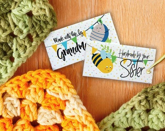 "Custom Fabric Labels, Bees and Bugs, Sew-on or Iron-on • 80 Labels  2 x 1"" Uncut • Your Name Added • Colorfast 100% Preshrunk Cotton"