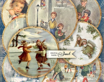 Christmas Night - 2.5 inch circles - set of 12 - digital collage sheet - pocket mirrors, tags, scrapbooking, cupcake toppers