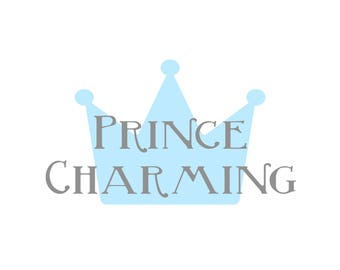 prince charming PRINTABLE Digital Download in blue and grey