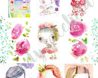 FLOWER Fairies journaling collage sheets - by Mindy Lacefield