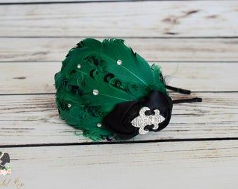 Handcrafted Emerald Green and Black Fancy Feather Headband - Fleur De Lis Headband - Wedding Headband - Roaring 20s Accessory - Mardi Gras