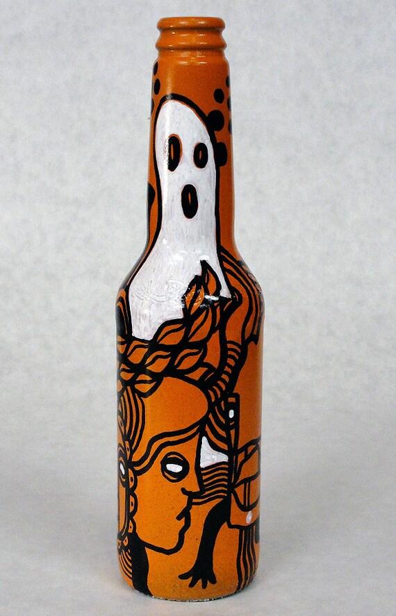 Bottle NO. 76 - Original Mixed Media illustration on Beer Bottle