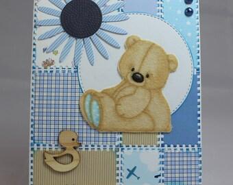 Card baby boy, kids, Teddy bear, duck, flower, fabric, handmade