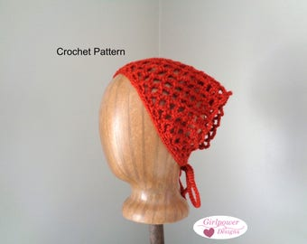 Kerchief Bandana Crochet Pattern, Lacy Headband, Worsted Yarn, Tie Back, Easy Crochet, Women & Teen Girls, Quick Crochet Triangle Headscarf