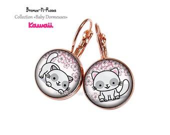 Earrings cats girl Christmas gift pink metal costume jewelry