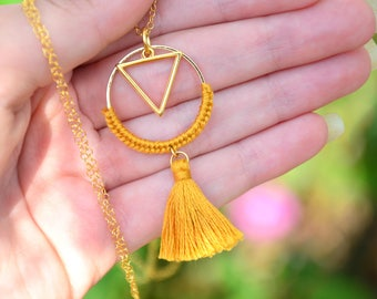Tassel necklace, geometric necklace, gold necklace, triangle necklace, everyday necklace, bohemian necklace, ethnic necklace, long necklace