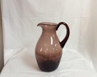 Blenko Glass 623S pitcher in chestnut brown