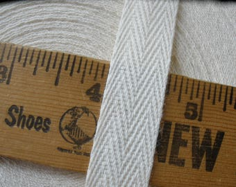 "Herringbone ribbon 48yds Wholesale 5/8"" Natural color Lightweight Cotton Twill Tape 5/8 inch whole roll 15mm bulk supply"