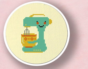 Cute Teal Stand Mixer Cross Stitch Pattern, Kitchen Appliance. Modern Simple Cute Counted Cross Stitch Pattern PDF File. Instant Download