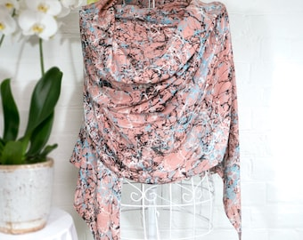 Throwing Stones - silk wool large scarf wrap shawl contemporary abstract painterly coral peach limited edition gift