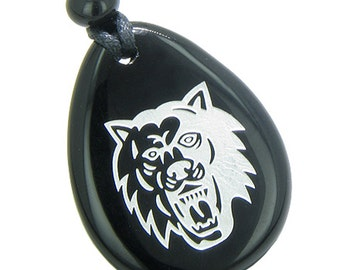 Brave and Protection Lucky Wolf Spiritual Amulet Black Agate Pendant Necklace