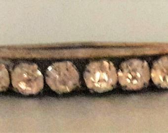 Vintage brass and rhinestone cresent moon pin brooch