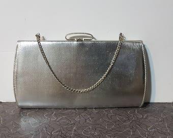 Vintage Silver Clutch Purse Convertible Retro Rockabilly Pin Up Clutch Purse