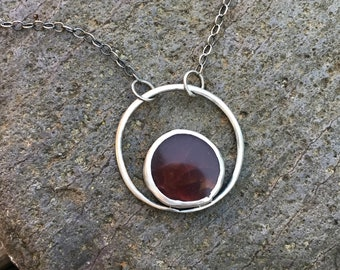Sterling Silver necklace with Red Carnelian