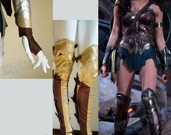 Wonder Woman Cosplay, Adult Women Leather Arm Protectors & Spats Costume Set