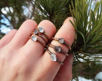 Herkimer Diamond Ring, Kupferring, Edelsteinring, Kristallring, Herkimer Diamond, Boho jewellery, Crystal ring, Raw crystal ring, Heilstein