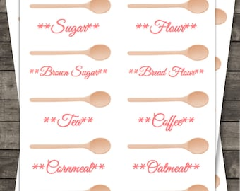 Pink Spoons Kitchen Canister Labels