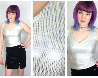 BETSEY Johnson 90s Holographic Crop Top / Soft Grunge Cyber Club Kid Designer Metallic Silver Shirt Tank / Size S Small