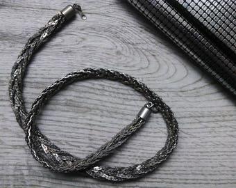 Nickel multi-strand chain necklace, 80s