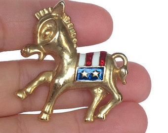 Democratic party donkey pin red white and blue patriotic election brooch