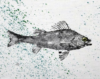 ORIGINAL Perch GYOTAKU Fish Rubbing Lake Art on Best Natural Muslin cloth 11 X 14 for cabin or cottage