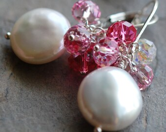 Earrings, Coin Pearl Pink and AB Swarovski Crystal, Wire Wrapped, Sterling Silver Lever Backs Bridal Earrings