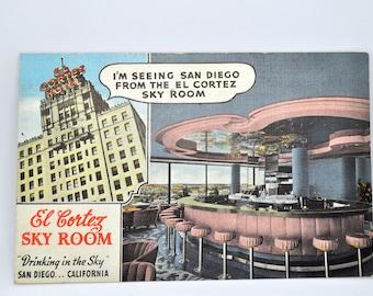 El Cortez Hotel Sky Room in San Diego California Postcard 1941