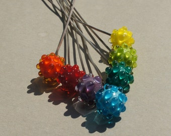 Handmade glass headpins in rainbow colors by Flamejewels