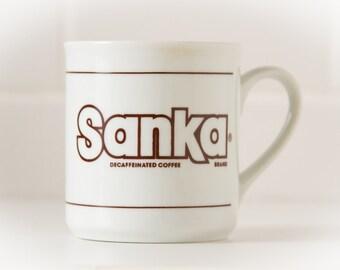 Vintage Coffee Mug (c.1980's) SANKA Decaffeinated Coffee - Retro decor, Vintage Gift, eighties prop piece, display