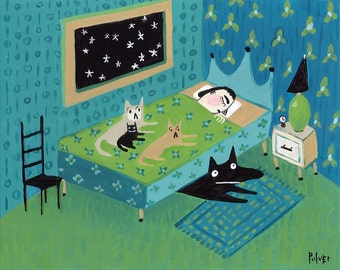 Art Print Cats and Black Dog on Bed - Whimsical Funny Pet Bedroom Decor Artwork 8x10 Shipperke Teal Turquoise Blue Green