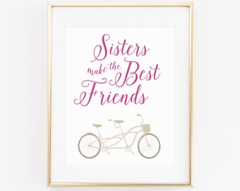 DIGITAL Sisters Make the Best Friends Nursery Print, Girl Wall Decor, Pink Nursery Art, Pink Girl Room Decor, Twin Girls Nursery - ANY SIZE