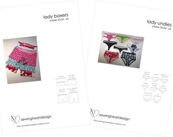 PDF pattern. Double set. Lady Undies/Boxers Lingerie. Size 32-34 - 60 (XS - 4XL)