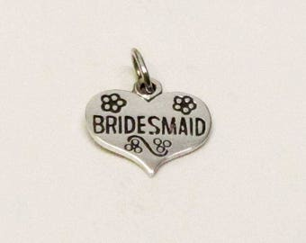 BRIDESMAID GIFT, HEART, Charm, Bridesmaids Gifts, Barn Wedding, Barn Wedding Favors, Rustic Wedding, Wedding Favors, Beach Wedding, Wedding
