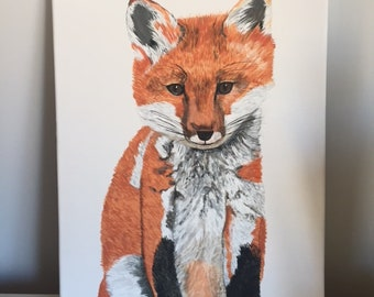 Original Fox Painting, 11x14 stretched canvas, acrylic