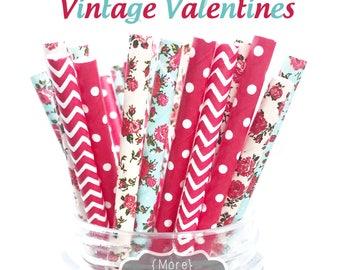 VINTAGE VALENTINES straw pack, roses, flowers, red hearts, 25 Straws, valentine party, Valentines. teal blush, vintage valentines