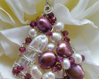 Wire wrapped Sterling silver one-of-a-kind Garnet Pearl Triangle Pendant